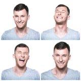 Collage av joyfull, lyckliga framsidauttryck Royaltyfria Foton