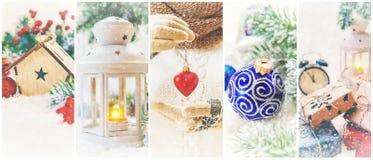 Collage av julbilder Ferier och händelser royaltyfria foton