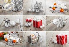 Collage av julfoto royaltyfria bilder