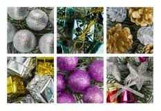 Collage av julgarnering Fotografering för Bildbyråer