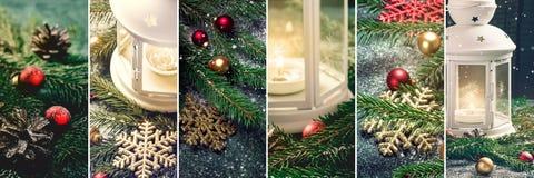 Collage av julgarneringar lykta, stearinljus och snöflingor Arkivfoto