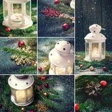 Collage av julgarneringar lykta, stearinljus och snöflingor Royaltyfri Fotografi