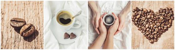 Collage av kaffe många bilder Arkivbild
