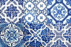 Collage av keramiska tegelplattor från Portugal Arkivbilder
