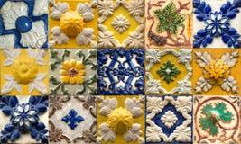 Collage av keramiska tegelplattor från Portugal royaltyfri fotografi