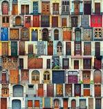 Collage av Kiev ytterdörrar, Ukraina arkivbilder