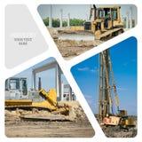 Collage av konstruktionsmaskineri Arkivbilder