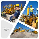 Collage av konstruktionsmaskineri Royaltyfri Bild