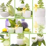 Collage av kosmetiska produkter Arkivfoto