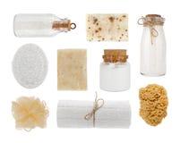 Collage av kosmetiska produktobjekt som isoleras på vit bakgrund royaltyfria foton