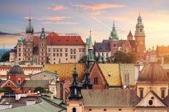 Collage av Krakow gränsmärken i aftonen royaltyfria foton