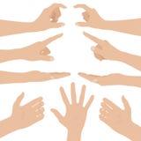 Collage av kvinnahänder på vit bakgrund vektor illustrationer