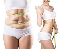 Collage av kvinnan bantar före och efter och viktförlust arkivfoton
