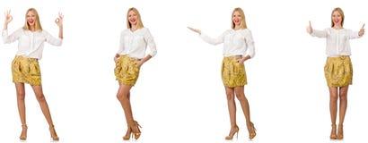 Collage av kvinnan i modeblick som isoleras p? vit royaltyfri fotografi