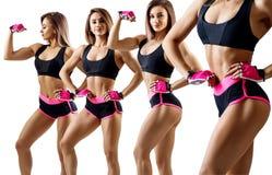 Collage av kvinnan i sportswear visade hennes idrotts- kropp royaltyfria foton
