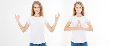 Collage av kvinnan med lugna och avkopplat uttryck som står i yoga, poserar med spridningarmar Uppsättning av närbild av händer a royaltyfria bilder