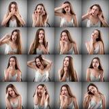Collage av kvinnan med olika ansiktsuttryck arkivbilder