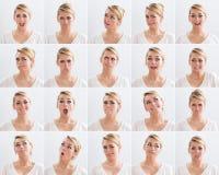 Collage av kvinnan med olika uttryck royaltyfria foton