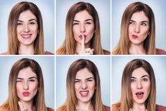Collage av kvinnan med olika uttryck arkivbilder