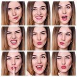 Collage av kvinnan med olika uttryck arkivfoton
