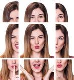 Collage av kvinnan med olika uttryck arkivfoto
