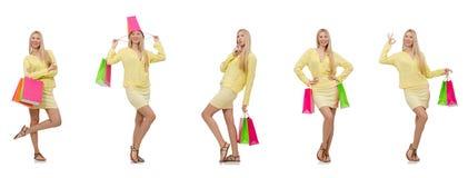 Collage av kvinnan med shoppingpåsar Arkivfoton