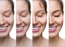 Collage av kvinnan som stegvis applicerar makeup arkivfoto