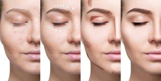 Collage av kvinnan som stegvis applicerar makeup royaltyfria foton