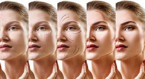 Collage av kvinnan som stegvis applicerar makeup fotografering för bildbyråer