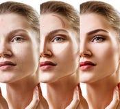 Collage av kvinnan som stegvis applicerar makeup arkivfoton