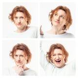 Collage av kvinnan som visar olika sinnesrörelser arkivbild