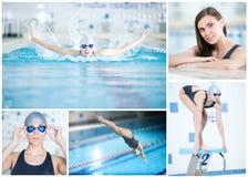 Collage av kvinnasimning i den inomhus pölen fotografering för bildbyråer