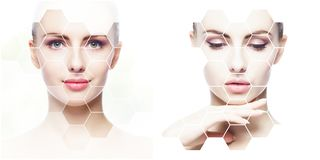 Collage av kvinnliga stående Sunda framsidor av unga kvinnor Spa lyfta för framsida, plastikkirurgicollagebegrepp arkivfoto