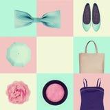Collage av kvinnors kläder royaltyfria bilder