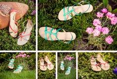 Collage av kvinnors skor, skoannonser som shoppar royaltyfri bild