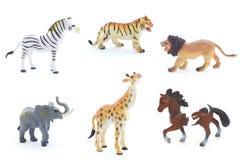 Collage av leksakdjur som isoleras på vit bakgrund royaltyfri bild