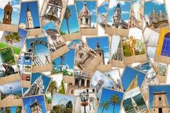 Collage av loppfoto från olika städer royaltyfria foton