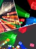 Collage av luddiga belysningbilder royaltyfri fotografi