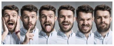 Collage av lyckliga och förvånade sinnesrörelser fotografering för bildbyråer