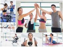 Collage av lyckligt folk på idrottshallen royaltyfri bild