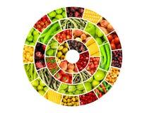 Collage av många frukter och grönsaker royaltyfri illustrationer