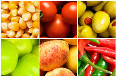 Collage av många frukter och grönsaker Arkivbilder