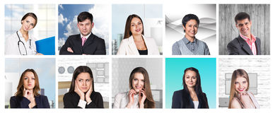 Collage av många olika mänskliga yrken Arkivfoton