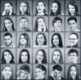 Collage av många olika personer royaltyfria bilder
