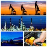 Collage av makt och energibegrepp och produkter royaltyfri foto