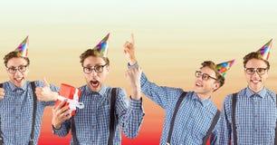Collage av mannen som firar födelsedag mot oskarp röd och persikabakgrund Royaltyfria Foton
