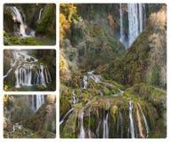 Collage av Marmores nedgångar (Umbria, Italien) Royaltyfria Foton