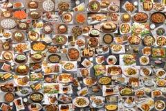 Collage av massor av mat fotografering för bildbyråer
