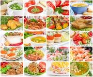 Collage av mat arkivfoton