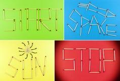 Collage av matchsticks Royaltyfri Bild